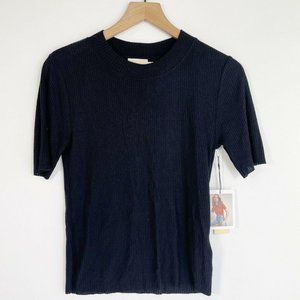 Nation LTD Ida Crewneck Ribbed Knit Top Large Jet
